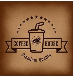 Premium coffee label over vintage background vector image vector image