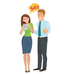 sales e-commerce concept man and woman vector image