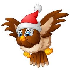 cartoon owl wearing santa cap vector image