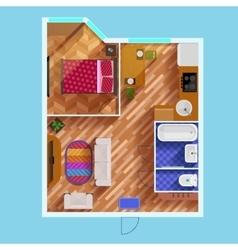 Floor Plan Of One Bedroom Apartment vector image