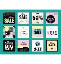 Set of artistic creative autumn sale cards vector