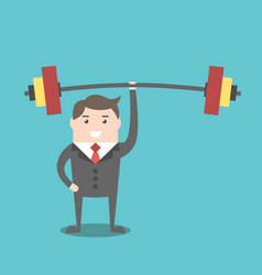 businessman holding barbell vector image vector image