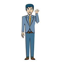cartoon man business suit posture vector image