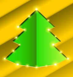 Cutout hole frame Christmas tree vector image
