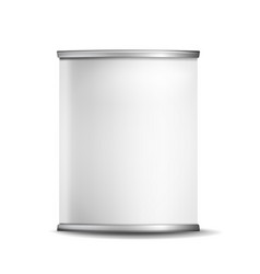metal tin box can 3d realistic empty vector image vector image
