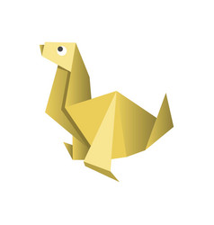 paper origami dog isolated on white picture vector image