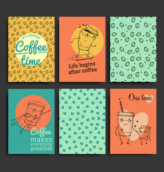 postcards template set hand drawn coffee vector image vector image