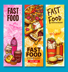 fast food sketch welcome or menu banners vector image vector image