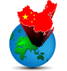 Flag China map on the earth vector image