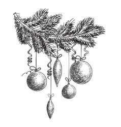 Hand drawn sketch fur tree branch with new year vector