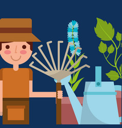 happy boy holding pitchfork watering can and vector image