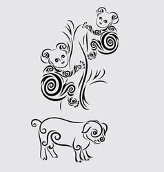 Koala and pig vector image