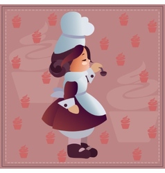 Nice background with Funny Chef and coffee pattern vector image