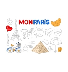 Paris icons set vector image vector image