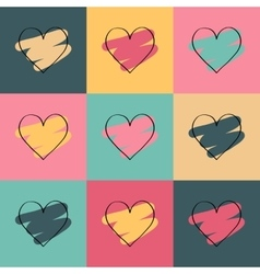 Valentines day colored background with hearts vector image