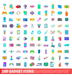 100 gadget icons set cartoon style vector image