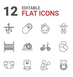 12 newborn icons vector image