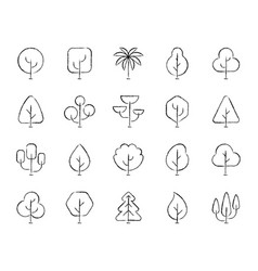 abstract tree charcoal draw line icons set vector image