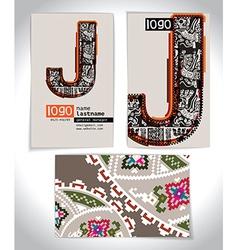 Ancient Business card design LETTER J vector