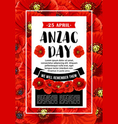 Anzac day 25 april red poppy poster vector