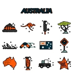 Australia flat icons set vector