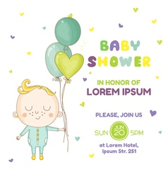 Baby boy with a balloon - shower vector