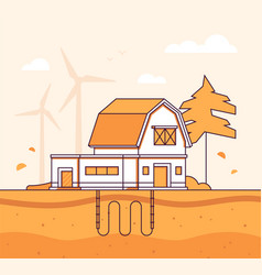 barn with sewage system - modern line design style vector image
