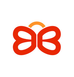 Bb lettermark symbol initials butterfly shape vector