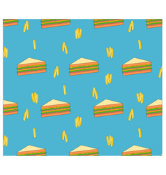 Beautiful seamless fast food sandwich background vector