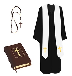 Bible rosary beads and costume vector