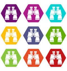 binoculars icon set color hexahedron vector image