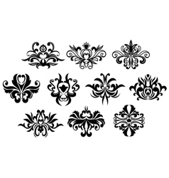 Black flowers silhouettes design elements vector