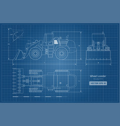 Blueprint wheel loader top side front view vector