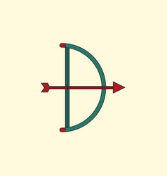 Bow and arrow icon in flat style vector