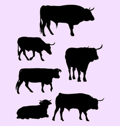 bulls and cow animal silhouettes vector image
