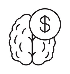 business mind knowledge equal money linear icon vector image