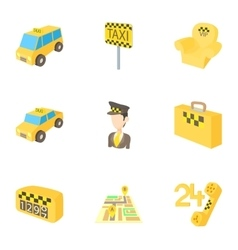 Call taxi icons set cartoon style vector