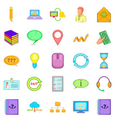 Call the office icons set cartoon style vector