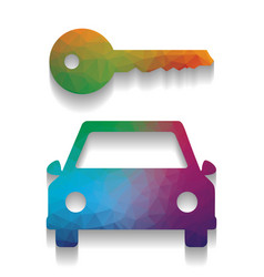 car key simplistic sign colorful icon vector image