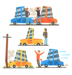 Car road accident resulting in transportation vector