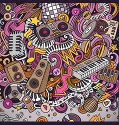 cartoon doodles disco music frame vector image