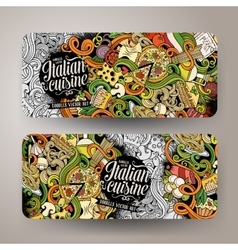Cartoon hand-drawn doodles italian food banners vector