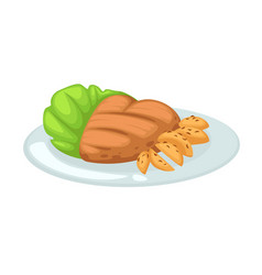 Chicken breast and fried potato with lettuce on vector