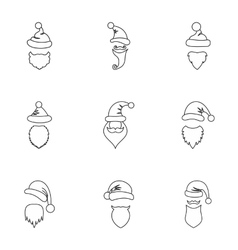 Christmas Santa Claus icons set outline style vector image
