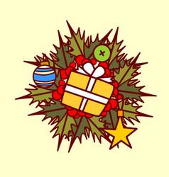 christmas wreath icon garland hand drawn holiday vector image
