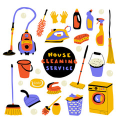 Cleaning service cute doodle set with lettering vector