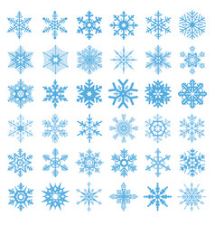 collection of 36 snowflakes vector image