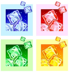 Colored ice cubes vector
