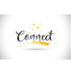 Connect word text with golden stars trail and vector