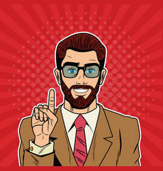 cool businessman pop art cartoon vector image